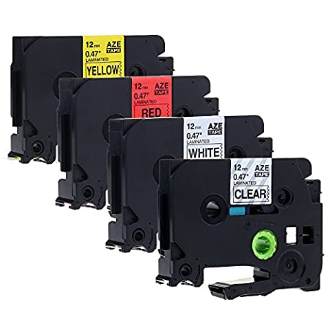 4 x Label Tape Cassette Compatible with Brother TZe-131/TZe-231/ TZe-431/TZe-631 / 12mm x 8m / 4 Multi-colors: Black on Clear / White / Red / Yellow for Brother P-touch PT-1000 PT-1010R PT-2030VP PT-2430PC PT-D600VP PT-E100 PT-H110 PT-D210 PT-9700PC PT-D400