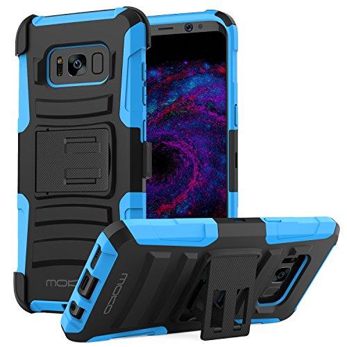 MoKo Galaxy S8 Hülle - [Heavy Duty Serie] Outdoor Dual Layer Armor Case Handy Schutzhülle Schale mit Gürtelclip und Standfunktion für Samsung Galaxy S8 5.8 Zoll Touch Display Smartphone, Blau