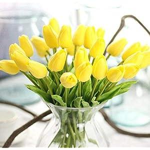 Uteruik Flor de tulipán artificial de látex de tacto real con hojas para ramo de boda, 10 unidades (amarillo)