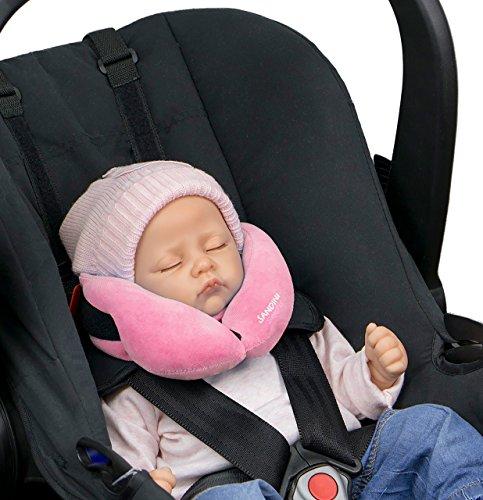 SANDINI SleepFix® Baby – Baby Schlafkissen/ Nackenkissen mit Stützfunktion – Kindersitz-Zubehör für Auto/ Fahrrad/ Reise – Kopfstütze/ Sitzverkleinerung/ Verhindert das Abkippen des Kopfes im Schlaf