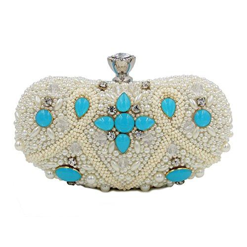 Damen Abendtasche High-End-Diamant Beutelbeutel Perle Paket Blue