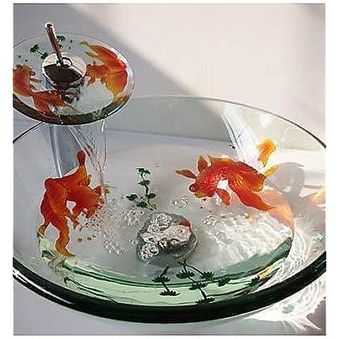 Pesce rosso, in vetro temperato con miscelatore a cascata, Pop-Up e anello di supporto