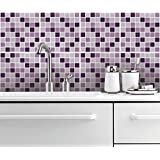 Pegatina para Azulejos Decoración Pared Cubierta Cocina Mosaico Lila (Caja de 32) - 10 x 10 cm