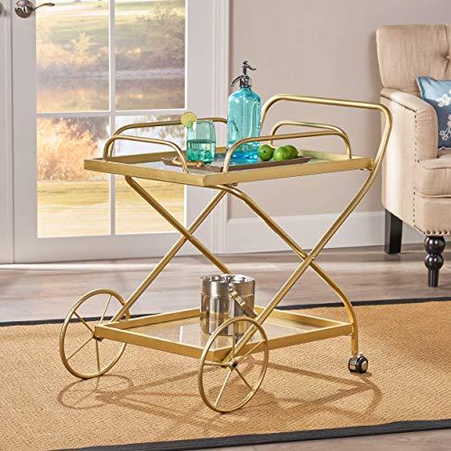 Christopher Knight Home 304471 Patty Bar Cart, Eisen und Glas, goldfarben -