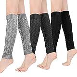 Bearbro Jambières d'Hiver Chaudes Tricotés,3 Paires Guêtre Femme,Longues Chaussettes Crochet Knit Boot Cover pour Femme et Fille