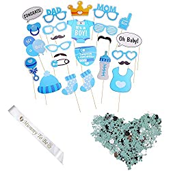 It' s a Boy Baby Shower party photo booth puntelli + Mummy to be a ghigliottina con coriandoli blu 27PCS DIY fotografia selfie Kits Birthday Decor Gift
