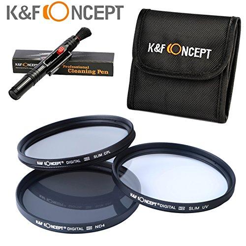 K&F Concept 77mm UV CPL ND4 Lentille Kit De Filtre Protection UV Filtre Polarisant Filtres à Densité Neutre + Stylo de Nettoyage + Pochette Filtre