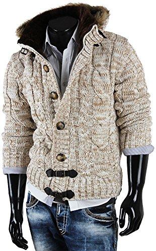 Tazzio pull à capuche pour homme en tricot cardigan en tricot pour l'hiver Beige - Ecru