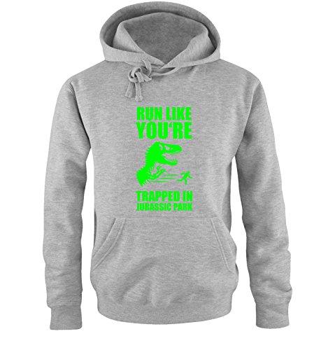 Comedy Shirts -  Felpa con cappuccio  - Maniche lunghe  - Uomo grey / neon green