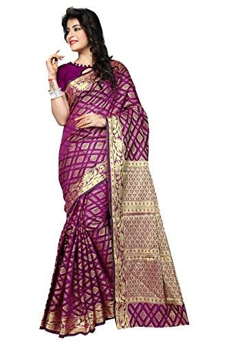 AASRI Women Wine Banarsi Silk Jacquard Zari Work Saree With Blouse Fabric
