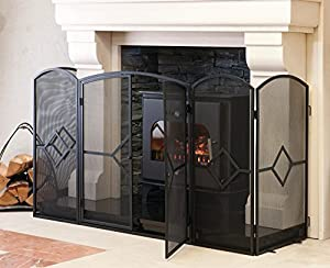 "Crannog Stove Fire Screen ~ 32"" H Screen Fire Guard With Front Door Surrounds Hearth - Child Friendly -Sparkguard for Fireplace 960/1BK"