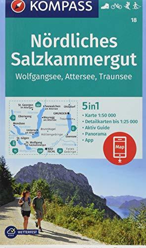 KOMPASS Wanderkarte Nördliches Salzkammergut, Wolfgangsee, Attersee, Traunsee: 5in1 Wanderkarte 1:50000 mit Panorama, Aktiv Guide und Detailkarten ... Fahrradfahren. Skitouren. Langlaufen.
