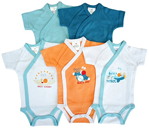 Baby Collection - 5er-Pack Baby Bodys Wickelbodys Kurzarm Schnecke Gr. 50/56 (1M)