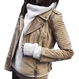 ORANDESIGNE Giacca Corta da Donna in Pelle PU Giacca PU Biker Giacca per l'autunno e l'inverno Biker Motocicletta Giacchetto