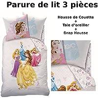Princesses Dream Big - Juego de cama de 3 piezas, 100% algodón, diseño de princesas Disney, incluye funda nórdica (140 x 200cm), funda de almohada (63 x 63cm) y sábana bajera (90 x 190cm)