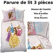 Princesas–Juego de cama (3pcs) 100% algodón–Funda de edredón (140x 200) + funda de almohada (63x 63) + sábana bajera (90x 190)–Dream Big