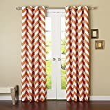 #3: Dekor World Cotton Orange Chevron Printed Eyelet Curtain Set (Pack of 2)-110x215cm (4x7Feet) Door Curtain