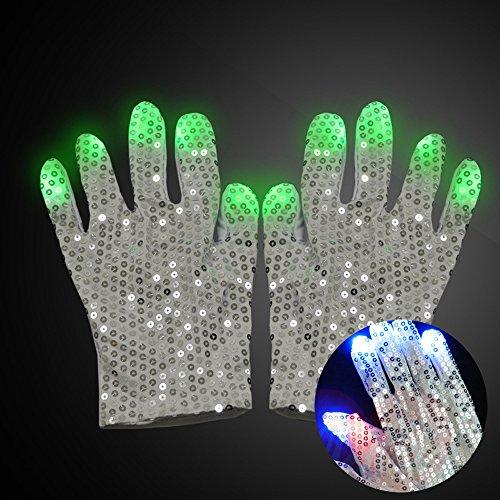 wanghuixin LED Raver Handschuhe-geführte Handschuhe blau Kostüm Show Stimme Spielzeug für Jungen Mädchen Geburtstagsfeier (Michael (Kostüm Handschuhe Bulk Weiße)