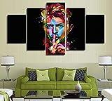 HIMFL Impression sur Toile David Bowie Chanteur Auteur-compositeur Incroyable 5 Panneau Peinture Murale pour la Maison Chambre Salon Bureau,B,20×35×2+20×45×2+20×55×1