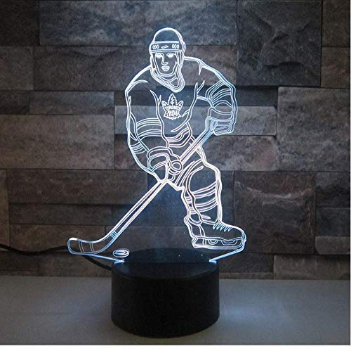 Illusion 3D Night Light Movimiento De Hockey Sobre Hielo Moonfall 7 Lámpara De Color Luces De Noche...