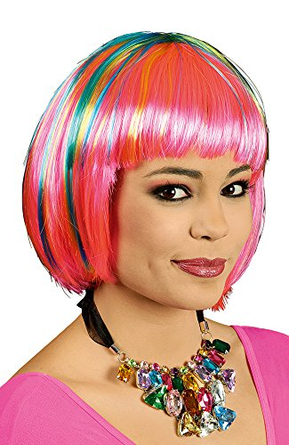 Bob Perücke Diddy Neon gesträhnt zu Kostüm Hippie Retro Clown Punk Rosa