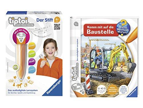 Preisvergleich Produktbild Ravensburger ® tiptoi Kinder Set - 00700 tiptoi Stift mit Player und Buch Wieso Weshalb Warum Komm mit auf die Baustelle im Set