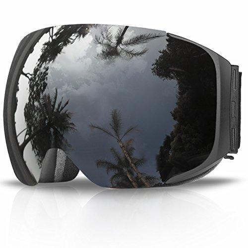 Maschera da sci, edrivetech occhiali maschera sci snowboard neve specchio per uomo donna adulto ragazzo ragazza antinebbia antivento occhiale maschere da sci anti-uv otg magnetica sferica lente