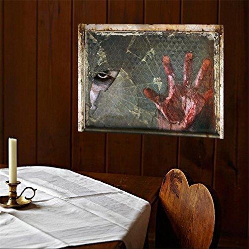 ep Böse Geist Wand Aufkleber Poster 3D-Fenster Ansicht Scary Wand Aufkleber Pvc Wand Aufkleber Dekoration Halloween Home Decor (Halloween Scary Themen)