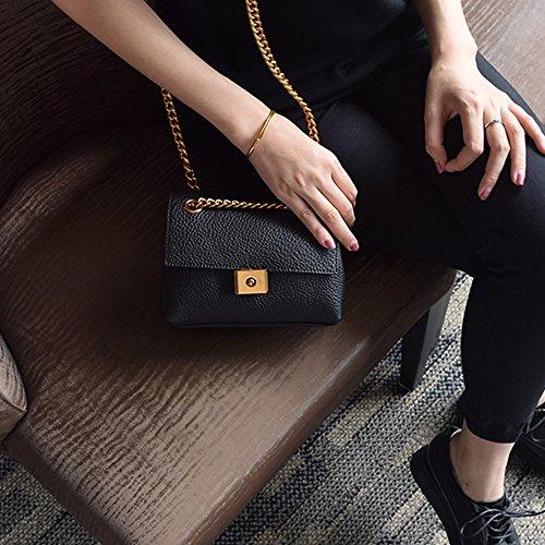 Retro zaino obliquo, zaino obliquo della catena, borse, borsa quadrata casuale, mini borsa a tracolla ( Colore : Nero ) Nero
