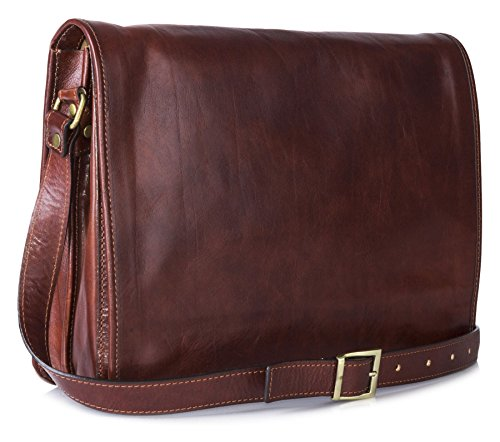 Big Handbag Shop da uomo in vera pelle Croce Corpo lavoro ufficio Borsa a tracolla Dark Tan - Large Size