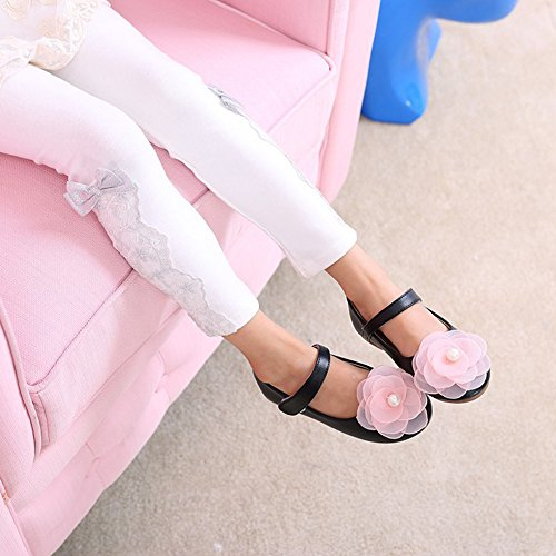 Scothen Princesse nounou bébé ballerines élégantes Party Chaussures enfants Chaussures de danse Fleur chaussures en cuir étudiant fille chaussures de danse chaussures papillon boucle de partie Noir