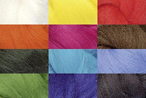 Knorr prandell 212506300 Märchenwolle (Mix zum Nass- und Trockenfilzen geeignet, 100 g, in 12 Farben, 100% Deutsche Schafwolle) -