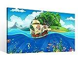 Leinwand 1Tlg XXL Kinderzimmer Pirat Schiff Schatzkarte Meer Leinwandbild Bilder Wandbild Holz fertig gerahmt 9R1078, XL 1Tlg BxH:60cmx40cm