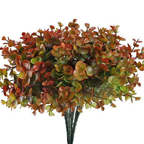 MIHOUNION 4pcs Künstliche Pflanzen Balkon Kunstpflanze Wetterfeste Balkonpflanzen Künstliche Grünpflanzen Unecht Pflanzen Plastikpflanzen für Draußen Garten Topf Hause Dekoration