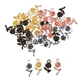 MagiDeal 40 Piece Wholesale Flower Rose Shape DIY Pendant Charms Necklace Earrings Jewelry Making 20x10mm