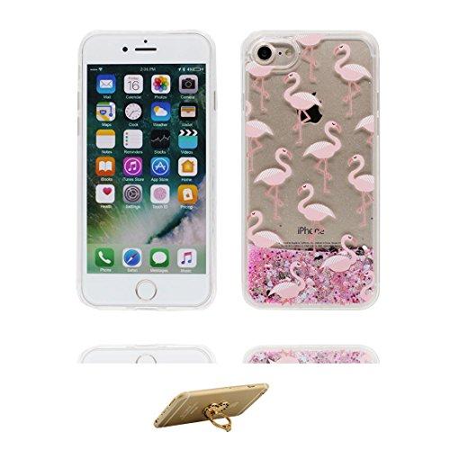 iPhone 6 Plus Custodia, Silicone trasparente duro Flowing Bling Cover Shell Semplice Progettato per iPhone 6s Plus Copertura (5.5 pollici), iPhone 6S Plus Case - e ring supporto [ Fenicottero ] COLOR 1