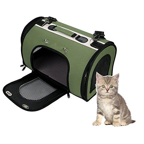 Transporttasche Transportbox Haustiertasche Hunde Katzen Reiseträger Faltbare Tiertragetasche Hundebox für Unterwags Auto Flugzeug Reise Hundetransportbox Katzentasche Grün Hundereisetasche 41x23x25cm