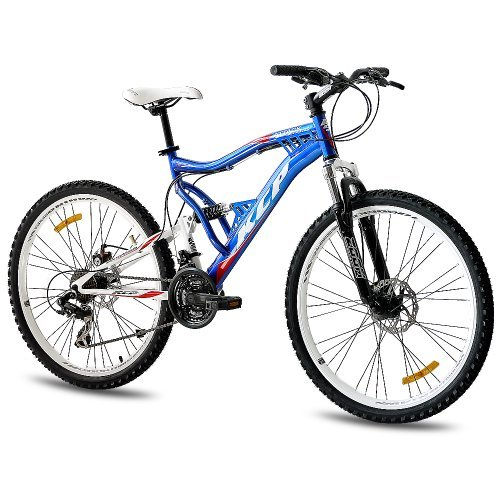 26 KCP MOUNTAIN BIKE BICYCLE ATTACK 21 SPEED SHIMANO UNISEX BLUE WHITE   (26 INCH)