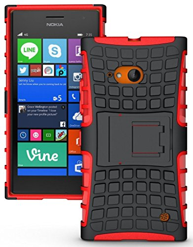 Chevron Hybrid Military Grade Dual Armor Kick Stand Back Cover Case for Nokia Lumia 730 (Red)  available at amazon for Rs.199
