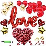 YLIANG Valentinstag Deko Set - XXL Mega Love Ballon, 500 Stück Rosenblätter für Romantische Atmosphäre und Hochzeit Party Dekoration