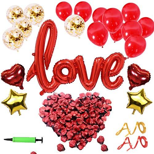 Yliang set deco di san valentino - xxl mega love balloon, 500 pezzi di petali di rosa per atmosfera romantica e decorazione della festa nuziale
