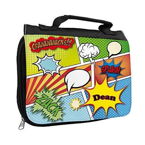 Kulturbeutel mit Namen Dean und Comic-Motiv für Jungen | Kulturtasche mit Vornamen | Waschtasche für Kinder