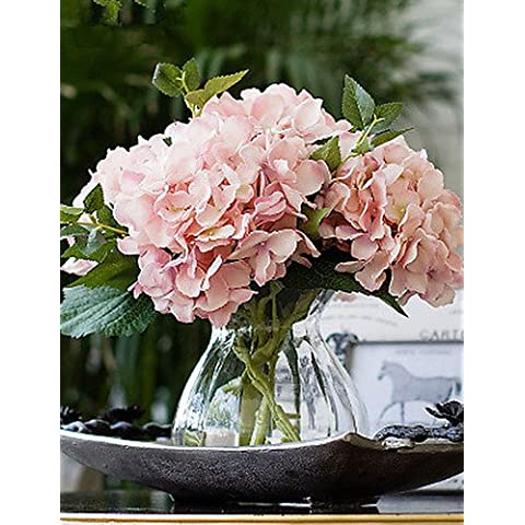 flores artificiales, california carne hortensias rosadas flores artificiales con el florero