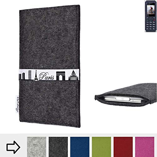 flat.design für bea-fon AL250 Schutzhülle Handy Case Skyline mit Webband Paris - Maßanfertigung der Schutztasche Handy Hülle aus 100% Wollfilz (anthrazit) für bea-fon AL250