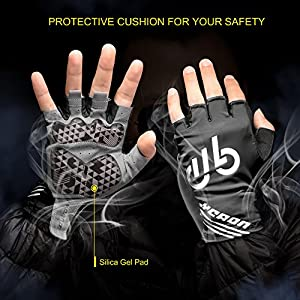 LYCAON Cycling Gloves Half Finger Gel Padded Nonslip Breathable Riding Biking Gloves Folding BMX Road Bike Cruiser Mountain Bike MTB Biker Scooter Gloves Outdoor Cycling Apparel Clothing Man Women