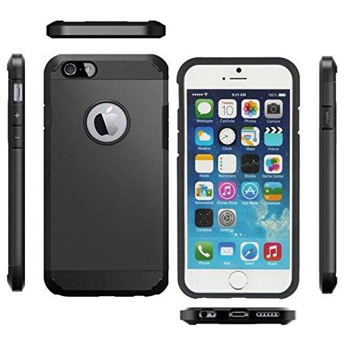 Armor Dura Protezione Estrema Custodia [TPU Shock-Absorption] Cover Case per Iphone 4/4s Nero e Vetro Temperato [Ultra-Sottile, Robusto & Rigido] Facil&co® Nero