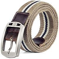 TINERS Lienzo Tejido Cinturón Hombres Y Mujeres Informal Salvaje Tejido Elástico Tejido Elástico Pin Hebilla Cinturón,Deepkhakistripes