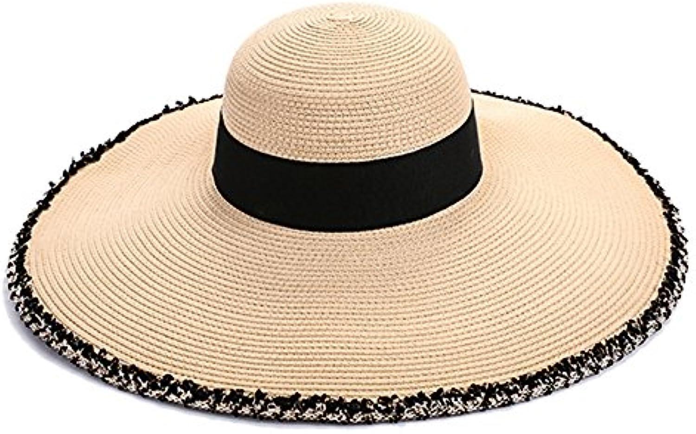 Cappello YNN Spiaggia Pieghevole a Tesa Larga Femminile Pieghevole Spiaggia  Paglia Estate Vacanza Viaggio Prossoezione Solare Visiera... Parent 79651b 39037ecefb24