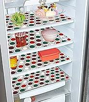 Kuber Industries Circle Design 4 Pieces PVC Refrigerator/Fridge Multipurpose Drawer Mat Set (Brown), 48 x 33 x