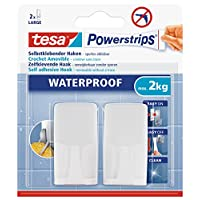 tesa UK Powerstrips Waterproof Hook with Removable Adhesive Strips - White